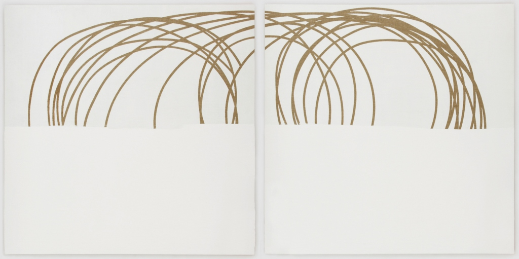Neal Perbix Untitled (diptych), 2016 [NP.21] Acrylic and mixed media on linen Each panel: 48 x 48 in. Total Display Dimensions: 48 x 98 in.
