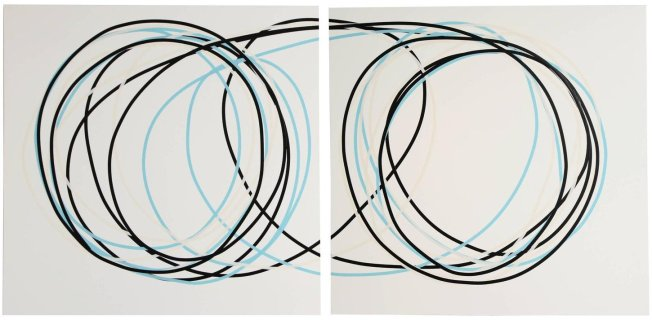 Neal Perbix Untitled Diptych, 2015 [NP.15] Tape drawing on 4ply archival rag paper mounted on Masonite and bass wood Each panel: 48 x 48 in. Display Dimensions: 48 x 98 in.