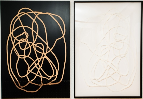 Neal Perbix Untitled Diptych, 2014 [NP.02] Router drawing with paper relief. Black lacquer with MDF and pegboard, 4ply rag paper 60 x 42 in. each*SOLD