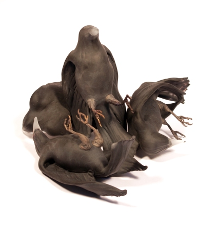 """Chad Fonfara Throes, 2015 [CF.S05] Four bird forms Hot sculpted glass, bronze Dimensions: 14"""" x 12"""" x 7"""" Bird forms: Approximate 8"""" – 9"""" L each"""