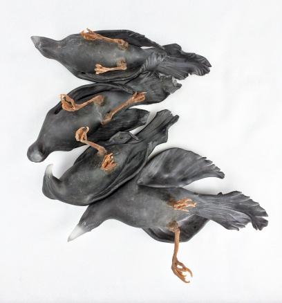 "Chad Fonfara Hidden Injury II, 2016 [CF.S07] Four bird forms Sculpted glass, bronze Dimensions: 17"" H x 19"" W x 6"" D Bird forms: Approximate 8"" – 9"" L each"