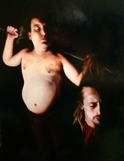 Jonny KelsonSean and Mac as David and Goliath, 2014[JK.03]Oil on Canvas48 x 36 in.*SOLD