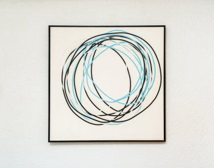 Neal Perbix Untitled (Tape Drawing), 2014 [NP.03] Tape on 4ply rag paper 48 x 48 in. *SOLD