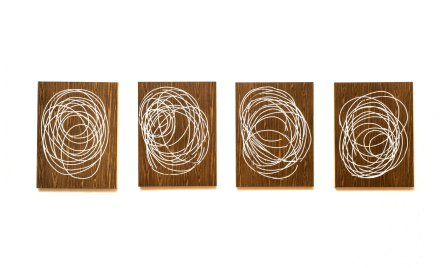 Neal Perbix Untitled, 2015 [NP.06] Set of 4 White out E-Z tape drawings on contact paper 24 x 18 in. each